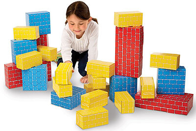 Melissa & Doug Cardboard Building Blocks, Extra-Thick 24 Blocks in 3 Sizes