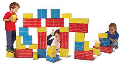 Melissa & Doug Jumbo Cardboard Building Blocks 40 Blocks in 3 Extra-Thick Sizes