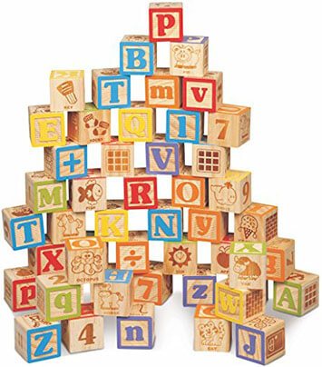 Maxim Deluxe Extra-Large Wooden ABC Blocks. Engraved Baby Alphabet