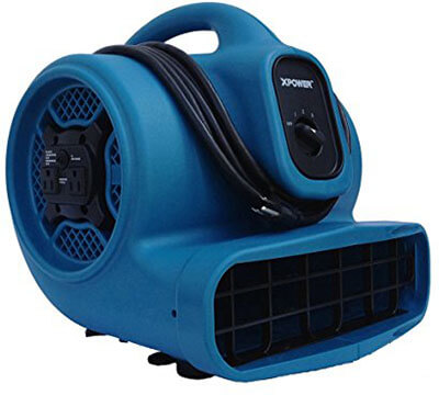 XPOWER X-400A 1/4 HP 3 Speed Air Mover, 1600 CFM with Dual Outlets for Daisy Chain