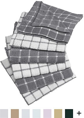 "DII Cotton Terry 12 x 12"" Windowpane Dish Cloths, Set of 6"