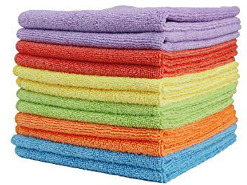 Clean Leader Cleaning Cloths Best Kitchen Dish Cloths Microfiber with Poly Scour Side, 13.7 By 13.7-inch