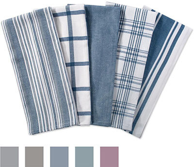 "DII Cotton Luxury Assorted Kitchen Dish Towels 18 x 28"", Set of 5"