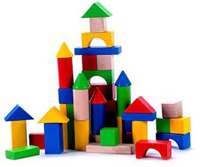 Cubbie Lee Toy Company 50 Pieces Classic Wooden Building Block Set