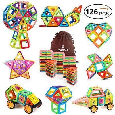 Mibote Magnetic Educational Building Blocks Magnet Tiles Set Stacking Blocks Toys