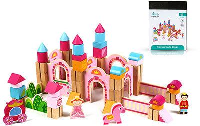 Cubbie Lee Toy Company Princess Pink Castle Wooden Building Block, New & Unique