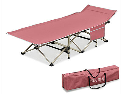 Purenity Stable Camping Cot Beach Bed with Decent Storage Bag, easily Portable Folding