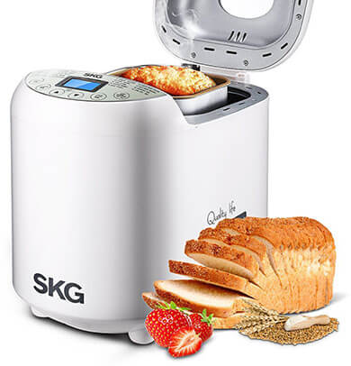 SKG Automatic 2LB - Beginner Friendly Programmable Bread Maker, 19 Programs, 3 Loaf Sizes