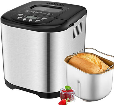 Aicok 2.2LB Programmable Bread Maker, Stainless Steel Housing, 15 Programs