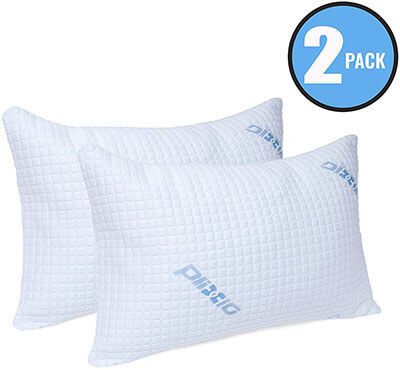 Plixio Deluxe Cooling Memory Foam Pillow, Bamboo Hypoallergenic Cover- 2 Pack