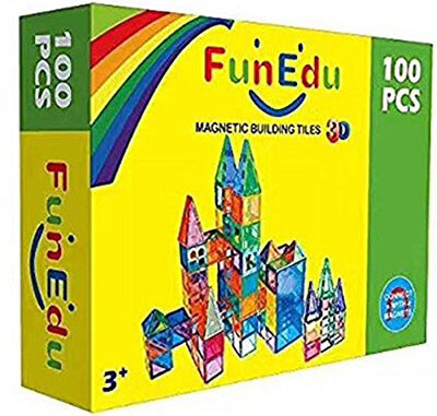 FunEdu Magnetic-tile Building Block Toy Set, Super Strong Magnets, 100-piece with Vivid Clear Color