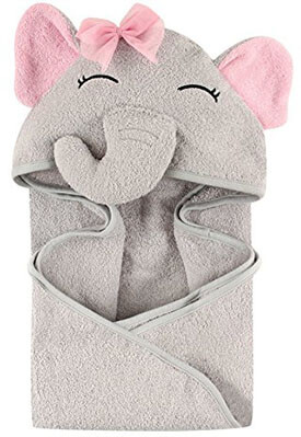 Hudson Baby Animal, Pretty Elephant Face Hooded Towel for Girls