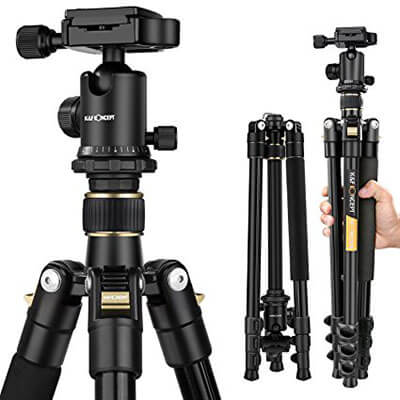 K&F Concept 62-Inch DSLR Tripod, Lightweight, and Compact Aluminum Camera Tripod