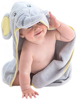 Little Tinkers Natural Cotton World Elephant Hooded Baby Towel