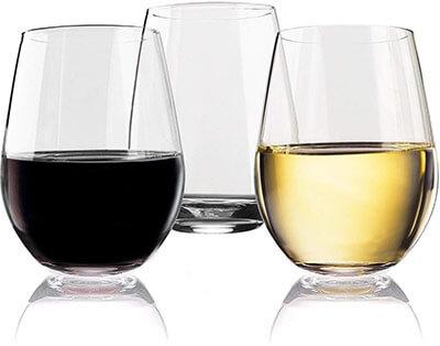 Vivocci Unbreakable Plastic Stemless Wine Glasses