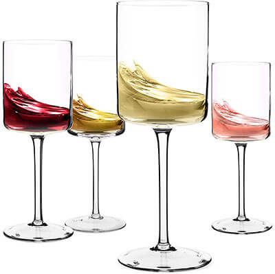 Elixir Glassware Large Set of 4 Lead-Free Crystal Wine Glass