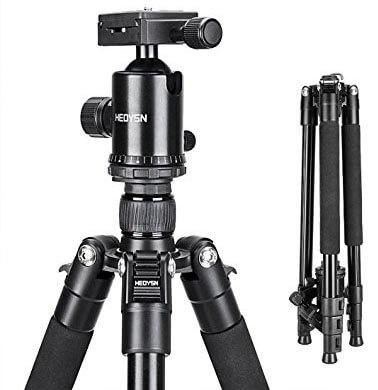 Heoysn Camera Tripod Lightweight Portable Aluminum Tripod, 65 Inch, Carry Bag