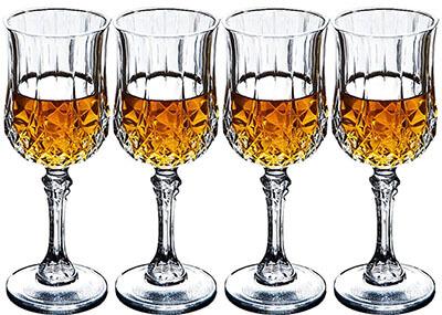 Bella Vino Old Fashioned Crystal Carved Wine Glasses,