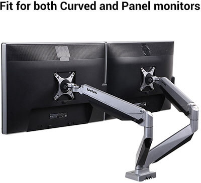 Loctek D7DR Dual Monitor Mount fits for both Curved and Panel