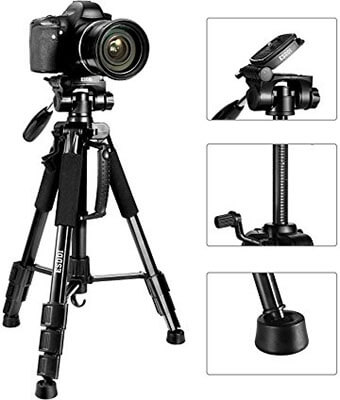 ESDDI 55-Inch Travel Portable Camera Tripod, Professional Digital SLR Camera Aluminum Tripod