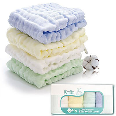 Umiin Baby Towel 100 percent Natural Muslin Cotton Baby Bath Washcloths and Towels