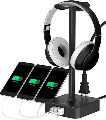 COZOO Desktop Gaming Headset Holder Hanger with 3 USB Charging Station