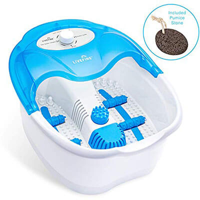 LiveFine Heated Bath with Manual Massage Rollers, Vibration and Pumice Stone