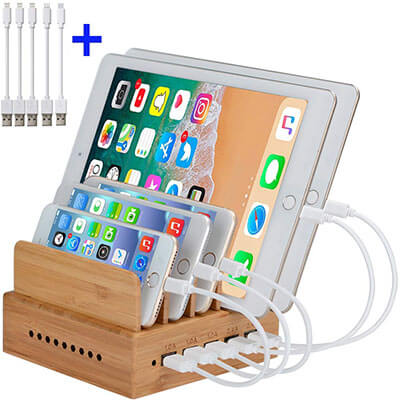 InkoTimes 5-Port Bamboo Charging Station