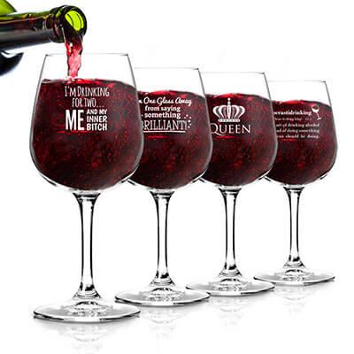 DU VINO Funny Novelty Wine Glassware 12.75 oz