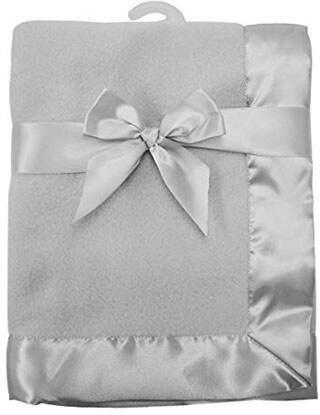 American Baby Company Fleece Blanket with 2 Satin Trim, Grey