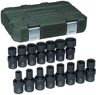 GearWrench 1/2-Inch 6 Point Metric Universal Impact Socket Set, 15 Pieces