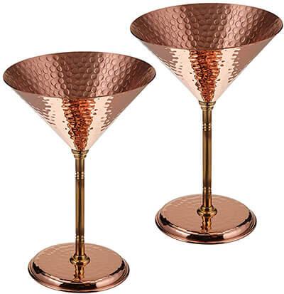 DEMMEX 2 X CopperBull Hammered Copper Martini Goblets Glasses