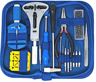 EZTool Watch Repairing Kit with 16 Tools & 41-Page Manual
