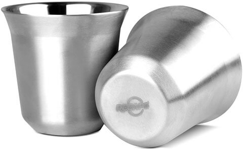 RECAPS 80ml Double Walled Stainless Steel Espresso Cups Set