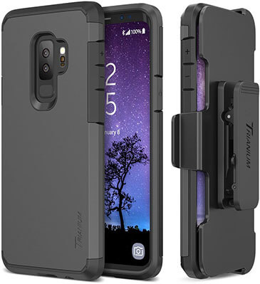 Trianium Duranium Galaxy S9 Plus Holster Case with Rotating Belt Clip& Kickstand