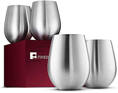 FINEDINE Premium 18/8 Stainless Steel Red & White Stemless Wine Glasses