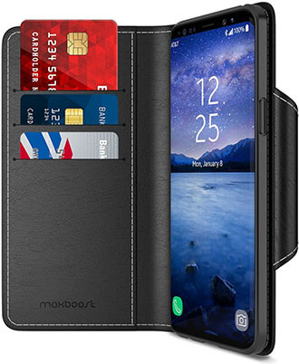 Maxboost Galaxy S9 Wallet Premium PU Leather Case mWallet Series
