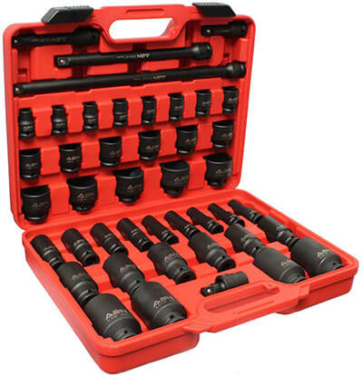 ABN ½ Inch Drive SAE Standard Master Deep & Shallow Impact Sockets, 43 Pieces