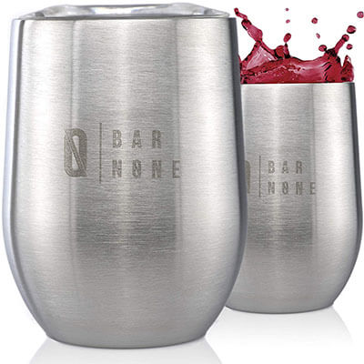 Royal Lion Insulated Stainless Steel Wine Tumbler with Lid Stemless