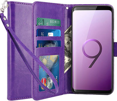 LK Galaxy S9 Case Luxury PU Leather Wallet Flip Protective Case Cover
