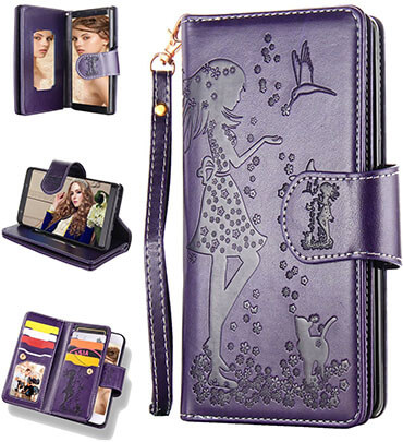 FLYEE 9 Card Slot PU Leather Magnetic Protective Cover Wallet Case for Samsung S9
