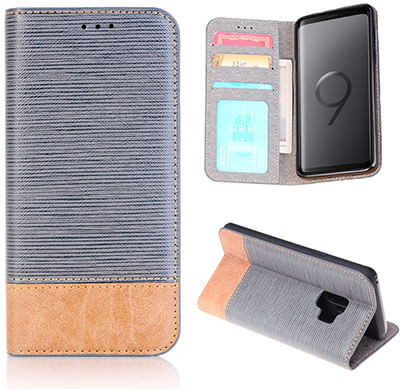 FLYEE Ultra Thin Slim Folio Cover PU Leather Magnetic Protective Cover with Stand Holder for Samsung Galaxy S9