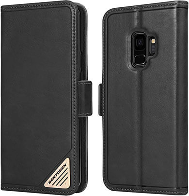 BENTOBEN Samsung S9 Genuine Leather Protective Flip Leather Case Cover with Stand Function
