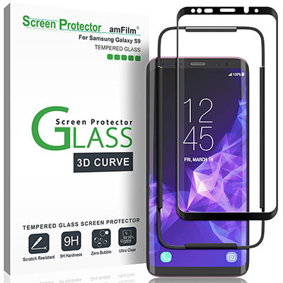 Amfilm 3D Curved Dot Matrix Full-Screen Samsung Galaxy S9 Tempered Glass Screen Protector