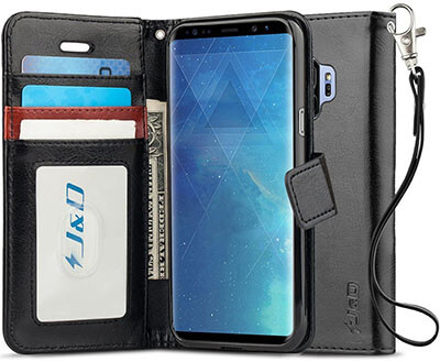 J&D Heavy Duty Protective Shock Resistant Flip Cover Wallet Case for Samsung Galaxy S9