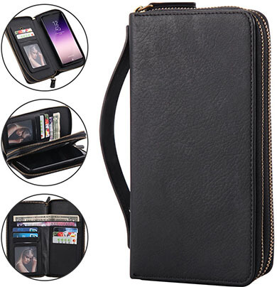 Lontect Galaxy S9 Wallet Case Multi-function Detachable Purse with Cosmetic Mirror & Hand Strap