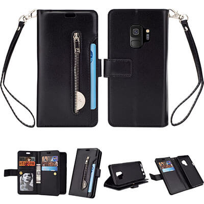 FLYEE 10 Card Slots Premium Flip Wallet Leather Magnetic Case Purse