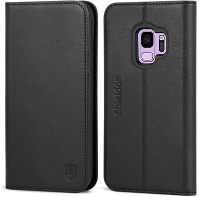 Shieldon Genuine Leather Premium Galaxy S9 Wallet Case Full Protection Case