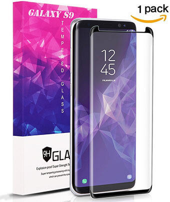 AsianiCandy Full Coverage, Tempered Glass 3D Curved HD Clear for Galaxy S9