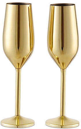 Barfame 18/8 StainlessSteelChampagneFlutes Glass 7.5 oz